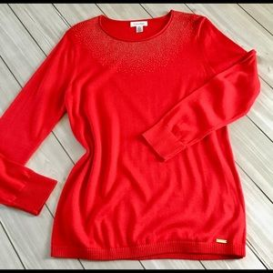 CALVIN KLEIN Red Beaded Holiday Sweater - Large